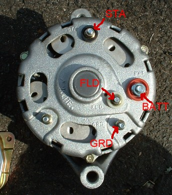 generator to alternator conversion alternator and voltage regulator terminals marked in case yours are unclear or hard to